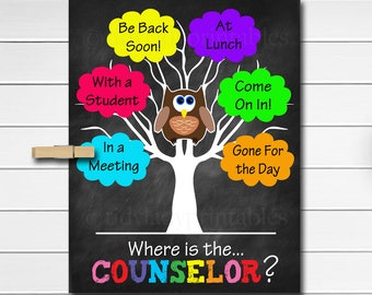 Where is the Counselor Door Sign, Classroom Decor, School Counselor Gifts, Office Door Hanger, Counselor Office Decor, Psychology Office