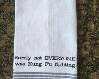Kung Fu Fighting Tea Towel (Black Stripe)