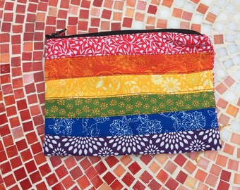Rainbow Flag Quilted Zipper Pouch