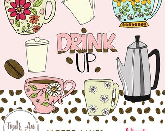 Coffee Cup Clipart, Coffee Mug Clipart, Coffee Mug Illustrations, Hand Drawn, Girly, Pink, Mother's Day, DIY Card, DIY Invite