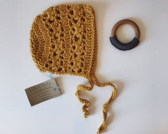 The Lucy Bonnet // Sungold // Size 6-12 Months // Ready to Ship