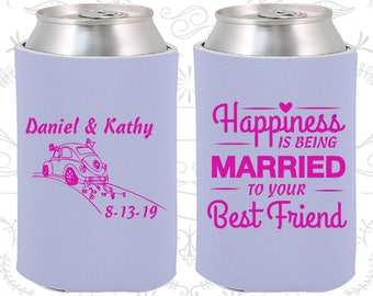 Happiness is Being Married to your Best Friend, Personalized Wedding Favors, Vintage Wedding Favors, Vintage Car, Wedding Can Coolers (510)