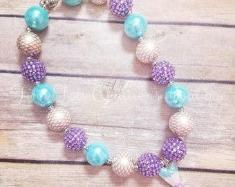 Mermaid Chunky Bubblegum Bead Necklace - Mermaid - Blue - Purple - Mermaid Tail - Mermaid Accessory