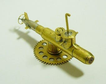 Military Trench Art Submarine Made from WW2 Shells Cartridges Handcrafted