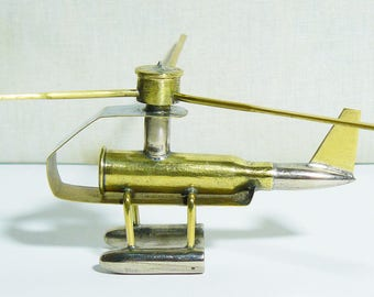 Paperweight Military Trench Art Helicopter Made from WW2 Shells Cartridges