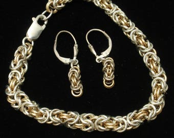 Sterling Silver Woven Chain Bracelet Earrings Set