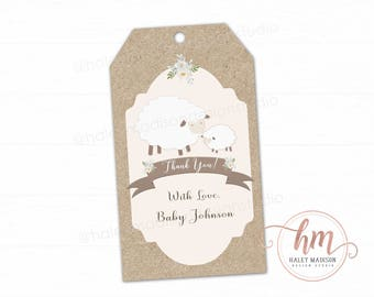 Little Lamb Thank you tags, Floral Lamb Tags, Gender Neutral baby shower tags, Lamb favor tags, Lamb Baby Sprinkle, PRINTABLE FILE