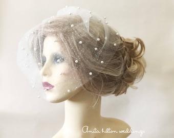 Birdcage veil, wedding veil, pearls sparkle birdcage veil, bridal veil, Ivory birdcage veil, small veil,