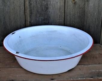 Vintage Enamel Wash Basin, Vintage Enamelware Wash Basin White With Red Trim