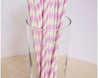 ON SALE - 15% OFF 25 Purple and White Striped Paper Straws - Additional Items Ship Free!!!