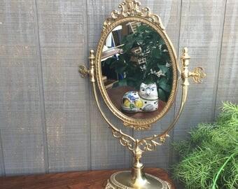 Vintage Solid Brass Free StandingVanity Mirror, Vintage Art Nouveau Dresser Mirror