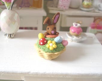 Dollhouse miniature Easter eggs Bunny in her basket surrounded by 1/12 th