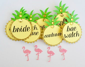 Pineapple Bachelorette Party Pins, Name Tags