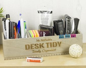 wooden desk tidy