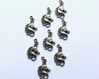Silver Unicorn charms - Fantasy charms - Kitsch charms - Mythical creature - Jewellery making - UK supplies - UK charms - DIY jewellery