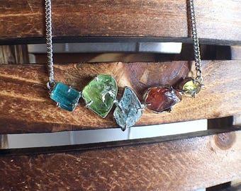 Tourmaline necklace, raw gemstone jewelry, aquamarine necklace, tourmaline jewelry, raw blue tourmaline, peridot necklace, raw peridot, ooak