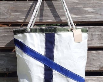 Recycled Nautical Sail Cloth Tote with Blue Stripes