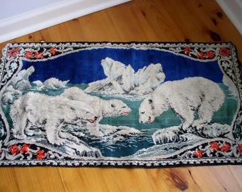 Vintage Velveteen Style Polar Bear Tapestry