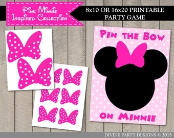 SALE INSTANT DOWNLOAD Printable Pin the Bow on Minnie / Print as 8x10 or 16x20 / Hot Pink Mouse Collection / Item #1754