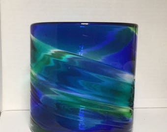 Beautiful Art Glass Vase / Candle Holder