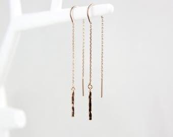 Rose gold hammered threader earrings earrings Rosé