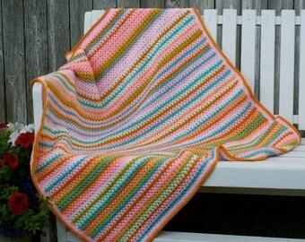 Crochet, V-stitch, Summertime Peaches baby/toddler/adult lap crochet blanket