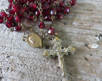 """Vintage Garnet Rosary - Garnet Red Glass Beads with Silver/Gold Tone Cross/Crucifix & Center 20"""""""
