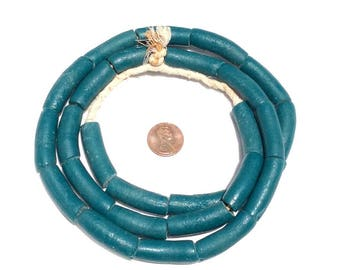 27 Ghana Recycled Glass Fancy Teal Elbow Trade Beads UB-G1425