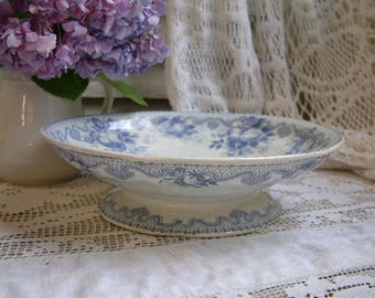 Antique french lavender transferware footed cake stand. Compote dish. Footed cake plate. Purple transferware. Jeanne d'Arc living.