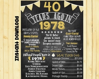 Gold 40th Birthday Chalkboard 1978 Poster 40 Years Ago in 1978 Born in 1978 40th Birthday Gift INSTANT DOWNLOAD