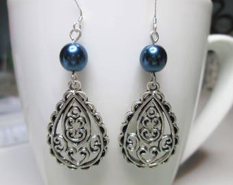 Antique silver tone drop earrings with blue pearl, filigree teardrop earrings