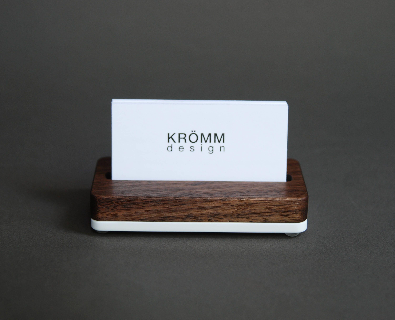 Wood Single Business Card Stand / Walnut Wood and Acrylic Business ...