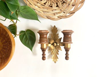 Vintage Candle Sconce | Wood & Brass Candle Wall Hanging | Home/Wall Decor