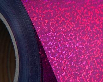 "Holographic Fuchsia 20"" Heat Transfer Vinyl Film By The Yard"