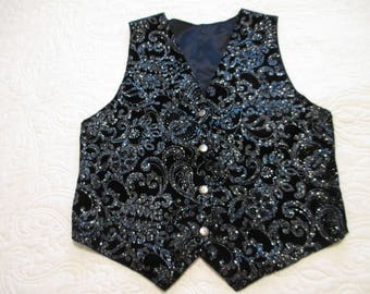 Cute black velvet with silver floral or paisley sparkles  size medium vest  for that special occasion