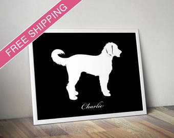 Personalized Labradoodle Silhouette Print with Custom Name - Labradoodle art, dog poster, dog gift
