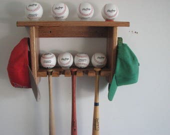 Baseball Bat Rack Oak Wall Shelf for Souvenier Mini Bats