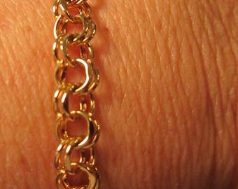 Gold Filled Double Linked  Charm Bracelet 12K Gold Filled