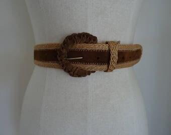 70's Belt Suede Leather Hemp Waist Belt Medium