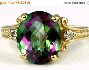 On Sale, 30% Off, Mystic Fire Topaz, 10KY Gold Ring, R136