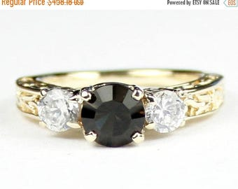 On Sale, 30% Off, Smoky Quartz w/ 2 Accents, 14KY Gold Ring, R254