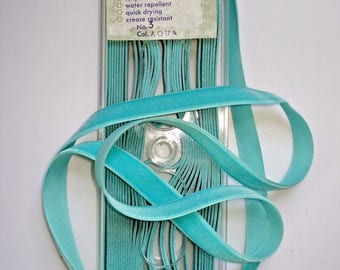 "10 Yards Cameo AQUA Velvet RIBBON 5/8"" Spool German Rayon Green/Blue/Turquoise Vintage Dress/Hat/Bag/Trim/Millinery/Easter/Purse/Doll Xmas"