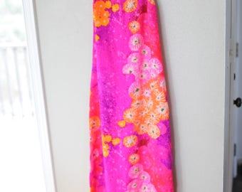 vintage pink & coral orange hawaiian maxi length floral summer sun dress