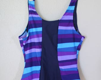 vintage 1980's purple & blue  striped one piece swimsuit womens