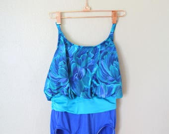 vintage turquoise blue floral one piece swimsuit womens