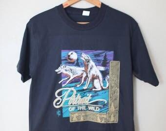 vintage wild wolf black t shirt