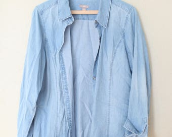 vintage oversized blue chambray denim industrial work shirt