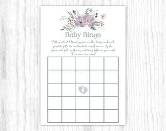 Baby Bingo game, Printable Party Games, Baby Shower Game - Purple and Gray Watercolor, Floral, 5x7 size