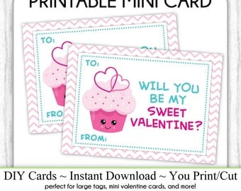 Cute Cupcake Valentine's Day Printable Cards, Valentine Mini Cards, DIY, You Print, Sweet Hearts Valentine Printable Cards, Instant Download