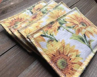 Unsponge Reusable Sponge Family Cloth Washable Sponge --- Set of Four --- Sunflowers, Sun Flowers